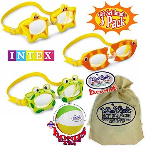 "Matty's Toy Stop Aquaflow Mini Fun Swim Goggles Frog, Fish & Sea Star Gift Set Bundle with Bonus 16"" Beach Ball & Storage Bag - 3 Pack"