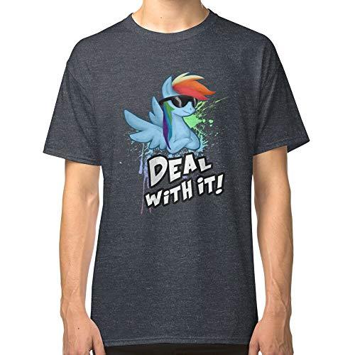 My Little Pony - MLP Rainbow Dash Deal con It Camiseta clásica para padres, padres, madres, hombres, mujeres, niños, niñas, ajuste cómodo, para llevar en cualquier lugar Gris Dark Heather 3XL