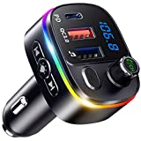 Bovon Bluetooth Transmisor FM y Soporte magnético para teléfono para automóvil, Kit para automóvil 2 en 1 con Carga rápida 3.0 + 5V / 2.4A Cargador para automóvil con Doble USB Inteligente