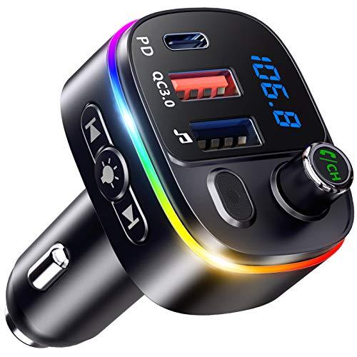 Bovon Transmetteur FM Bluetooth, PD18W & QC3.0 Chargeur Allume Cigare Adaptateur Bluetooth Voiture avec Micro Puissant, 9 LED RVB Rétroéclairé, V5.0 Appel Main Libre, Assistant Google Siri, Clé USB