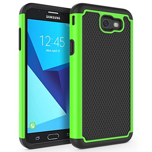 Case for Samsung Galaxy J7 V 2017 (1st Gen)/ Galaxy J7 2017 / Galaxy J7 Prime/Galaxy J7 Perx/Galaxy J7 Sky Pro/Galaxy Halo, SYONER [Shockproof] Defender Phone Case Cover [Green]