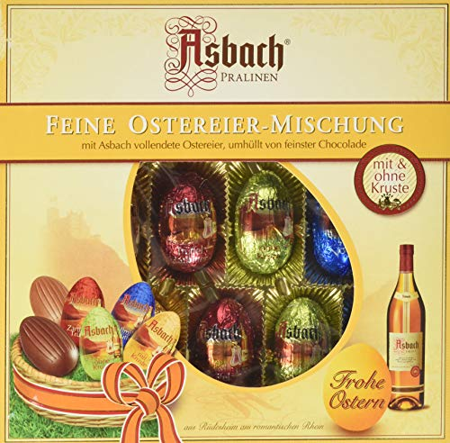 RCP Asbach Ostereier, Gemischte Pralinen, Mit und ohne Kruste, Flüssige Füllung, Alkoholhaltig, Tolles Geschenk, 14er-Packung