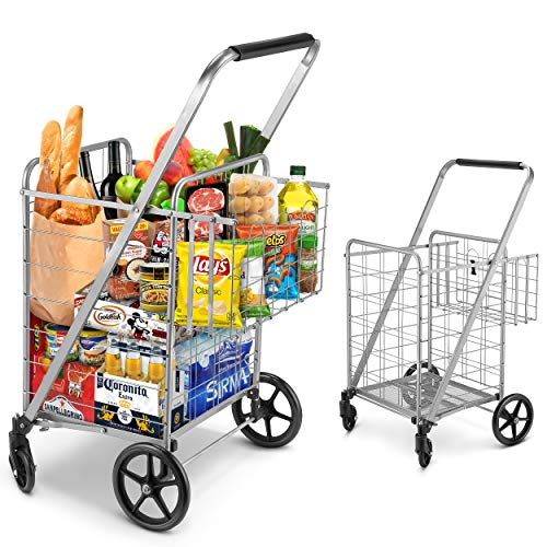 Shopping Cart, Jumbo Double Basket Grocery Cart 330 lbs Capacity Folding Shopping Cart with 360°...