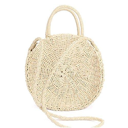 Minetom Stroh Crossbody Tasche Frauen Weben Umhängetasche Runde Sommer Strand Geldbörse und Handtaschen B Beige 28x28x10 cm