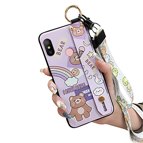 Phone Holder Durable Lulumi Phone Case Compatible with Xiaomi Redmi 6 Pro A2 LITE, Wristband Neck Strap Lanyard for Girls Shockproof cover Silicone TPU Functional, Rainbow Bear