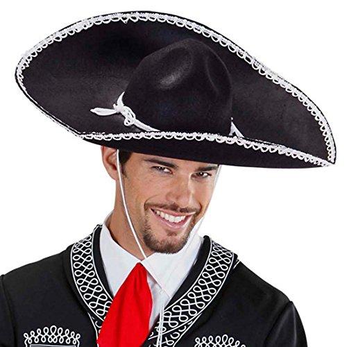 Sombrero negro mexicano sombrero mexicano de fiesta mexicano, sombrero de verano Gaucho Tequila Party sombrero sombrero sombrero sombrero sombrero sombrero carnaval disfraz accesorios