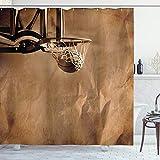 ABAKUHAUS Basketball Duschvorhang, Ball in der Nettowertung, mit 12 Ringe Set Wasserdicht Stielvoll Modern Farbfest & Schimmel Resistent, 175x200 cm, Sepia