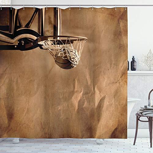 ABAKUHAUS Basketball Duschvorhang, Ball in der Nettowertung, Wasser Blickdicht inkl.12 Ringe Langhaltig Bakterie & Schimmel Resistent, 175 x 200 cm, Sepia