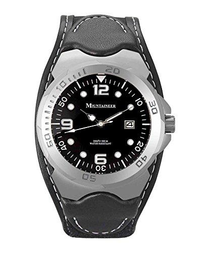 Mountaineer Uomini Sport Orologio Nero Leather e Nylon di velcro Cinturino Bianca Stitching Reloj Para Hombre MN1450