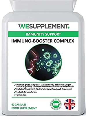 Immune System Booster 60 Vegetarian Capsules - Manuka Honey, Royal Jelly, Vitamin C, B12 & D3, Selenium, Zinc, Bee Propolis & Bee Pollen - Vegetarian - UK Made - Immune Support