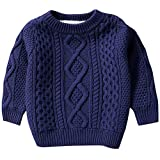 Kids Long Sleeve Crew Neck Chunky Twist Warm Fleece Lined Knit Pullover Sweater for Toddler Baby, Little & Big Boys, Navy 12-18 Months = Tag 80