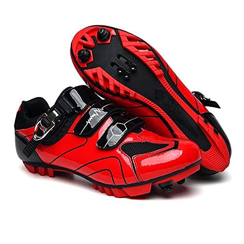 ZHBW Calzado Deportivo De Montaña para Ciclismo Hombre Fibra Carbono Mujer Interior/Exterior (Color : Red, Shoe Size : 43EU)