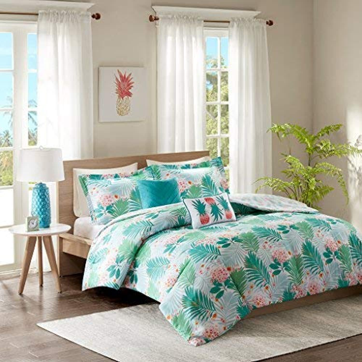 Intelligent Design Tropicana Comforter Set Full Queen Size - Aqua, Tropical Floral Pineapple Print – 5 Piece Bed Sets – Ultra Soft Microfiber Teen Bedding for Girls Bedroom
