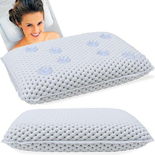 Deuba Bathtub Pillow Neck and Head Rest Quality Head Support Comfy Bathing Cushion