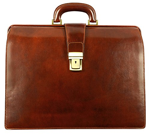 Leather Lawyer Briefcase for Men Brown Italian Attache Doctor Bag - Time Resistance