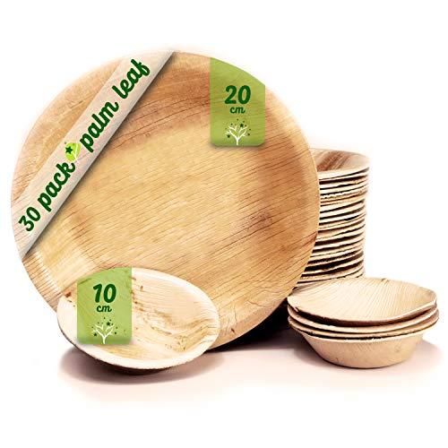 Platos desechables de hoja de palma 30 Piezas, 25 Platos redondos de 20 cm y 5 Platos de 10 cm. vajilla rustica de madera para barbacoas y fiesta de cumpleaños. Biodegradable libre de plástico.