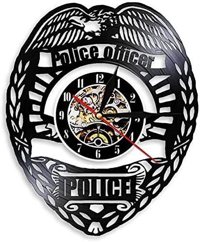 zgfeng Logotipo de la policía Reloj de Bolsillo Insignia de la policía Vinilo Cantar Reloj de Pared decoración de la estación de policía lámpara de Pared Regalo de jubilación de la policía-con LED