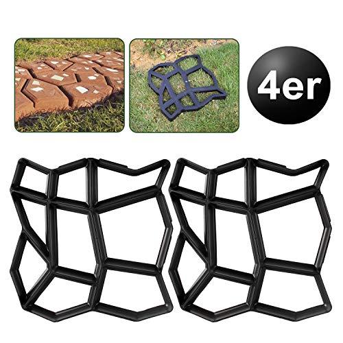 YAOBLUESEA Set 4 Molde de hormigón para encofrado, Molde de plástico para hormigón, para jardín (42,5 x 42,5 x 4 cm, en ABS)