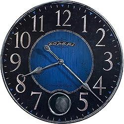 "Howard Miller Harmon II Wall Clock 625-568 – 26.25"" Oversized Antique Metal Nickel & Pendulum Opening with Quartz Movement"