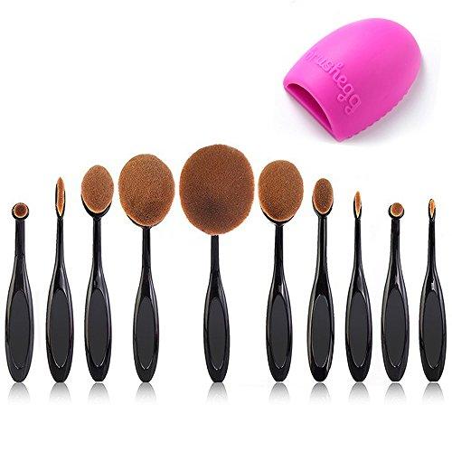 Beauty Kate Pro 10 Pcs Oval Makeup Brush Set Foundation Contour Concealer Blending Cosmetic Brushes +1 Brush Cleaner