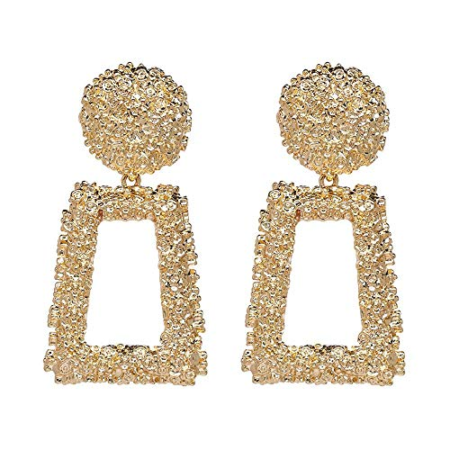 Textured Door Knocker Trapezoid Gold Tone Drop Earrings