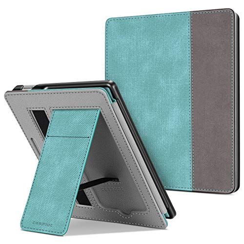 CaseBot Stand Case for All-new Kindle Oasis (10th Generation, 2019 Release and 9th Generation, 2017 Release) - Premium PU Leather Sleeve Cover with Card Slot and Hand Strap, Turquoise/Brown