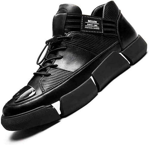 YIWU Entrenador zapatos De Hombre Hauszapatos De Cuero Genuino Tendencia De La Moda Ayuda Baja zapatos De Ocio zapatos De Cuero De Inglaterra para hombres