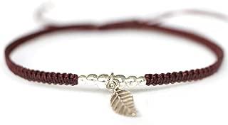 Sovats Leaf Adjustable Bracelet 925 Sterling Silver Braided Cord Bracelet For Women Men Girls Boys