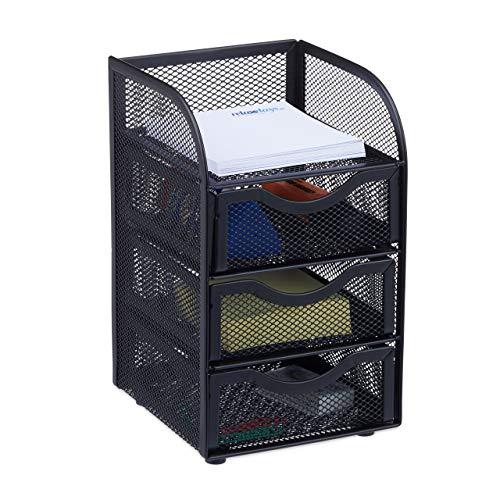 Relaxdays Schreibtischorganizer, Büroablage aus Metallgeflecht, Ablagebox für Bürobedarf, HxBxT: 21x12,5x13cm, schwarz