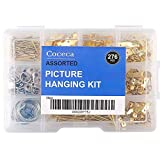 276pcs Picture Hangers, Picture Hanging Kit Assortment with Wire, Hooks, Nails, Sawtooth Backs, D Rings and...