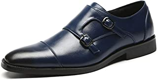 HBSSEE Men's Shoes Classic Oxford for Men Formal Wedding Shoes with Dual Monk Straps Slip on PU Leather Stitch Burnished Style Patchwork Pointed Toe