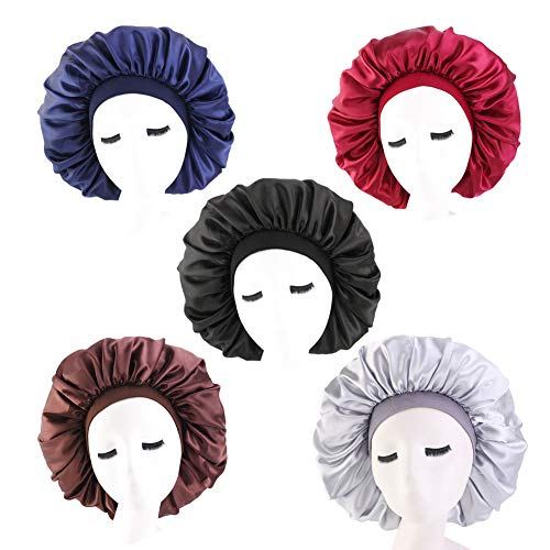 5 PCS Satin Silk Bonnet Sleep Cap Extra Large Jumbo Day and Night Cap Hat Salon Bonnet Head Hair Covers Chemo Caps with Elastic Wide Band for Black Women Long Curly Natural Hair Braids