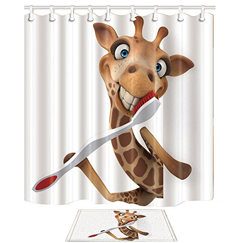 NYMB 3D Digital Printing Cartoon Giraffe Brushing Teeth Kids Shower Curtains, Polyester Fabric Funny Animals Shower Curtain Suit with 15.7x23.6in Flannel Non-Slip Floor Doormat Bath Rugs, 69X70in