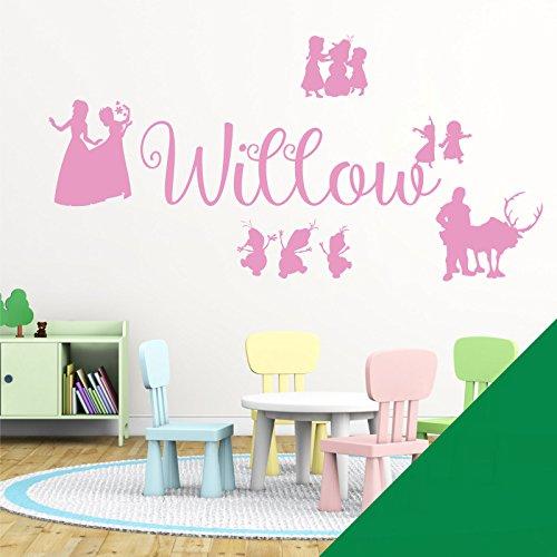 Wall Designer Nom personnalisé Filles Art Mural Autocollant – inspirée de Disney La Reine des neiges, Elsa, Anna, Olaf, Kristoff, Meadow, Large (950x290mm)