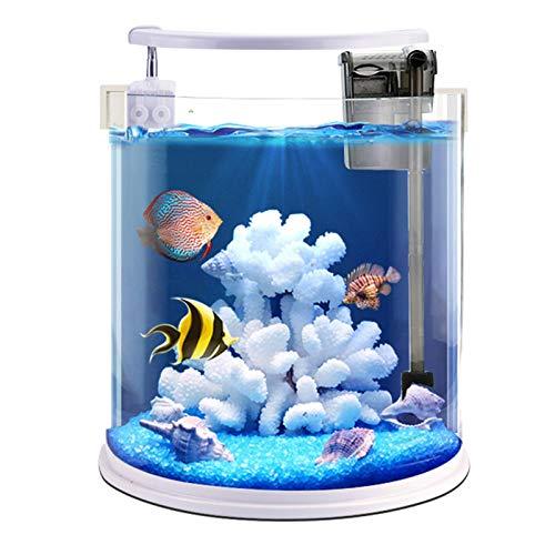 Idroponica Acquario, Acquario, cilindrico ecologica Gold Fish Tank, Ultra-bianco ad alta definizione Vetro Piccolo Pesce tropicale, con illuminazione Luce White