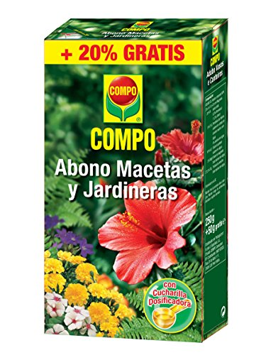 Compo 250g + 50g Gratis Abono para macetas y jardineras, Granulado, Cuchara dosificadora, 300 g, 15.5x10.7x3.4 cm