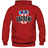 Shirt Happenz Kroatien WM 2018#4 Kapuzenpullover Herren Hrvatska Kockasti Trikot Nationalmannschaft, Farbe:Rot (Red F421);Größe:S