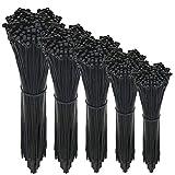 500x Fascette per cavi professionali Velcro UV Soggiorni Resistenti al calore Durevole Grado industriale 5 taglie 100/150 / 200/300 / 400 mm (Nero)