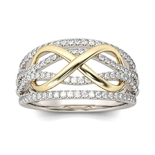 925 Sterling Silver White/Golden Criss Cross Ring Cubic Zirconia Anniversary Promise Rings CZ Diamond Multi Row Celtic Love Knot Ring Eternity Engagement Wedding Band Ring for Women (US Code 9)