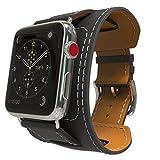 MoKo Armband für Apple Watch 42mm Series 5/4/3/2/1, Cuff Lederarmband Wrist Band Uhrband Uhrenarmband Erstatzband mit Schnalle und Mentallschließe für Apple Watch Nike+ 42mm 2017, Schwarz