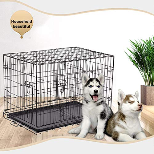 BestPet Dog Crate Dog Cage Pet Crate Folding Metal 24 Inch Pet Cage Double Door W/Divider Panel Wire Animal Cage Dog Kennel Leak-Proof Plastic Tray Basic Crates Dog Kennels Supplies Top