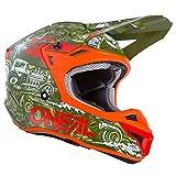 O'NEAL | Casco de poliacrilato 5SRS HR | Casco de Motocross | Verde/Naranja | Talla M (57/58cm)