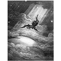IDOLN1 ミルトン-失楽園-ギュスターヴ・ドレの「サタンの滝」油絵キャンバスプリントウォールアートリビングルームの寝室の装飾-50x70cmフレームなし1PCS