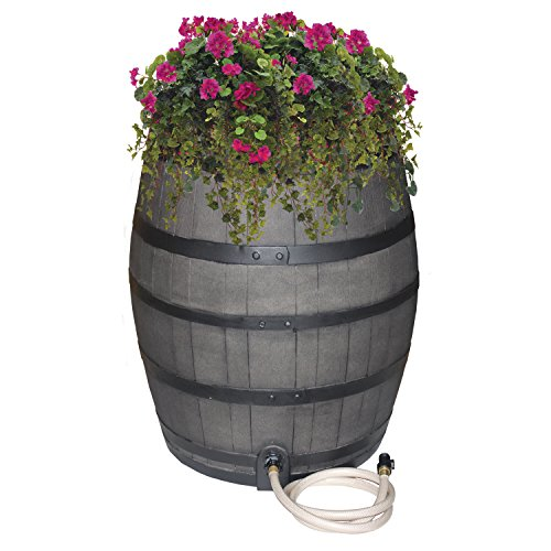 Emsco Group 2244-1 Rescue 50-Gallon Black Includes Planter, Water Diverter, Outlet Hose – Flatback Design 50 Gallon Whiskey rain Barrel, Gray with Painted Bands