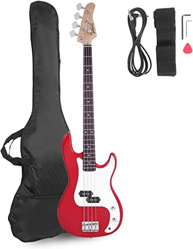 Glarry Electric Bass Guitar Full Size 4 String Rosewood Basswood Fire Style Exquisite Burning Bass (Red)