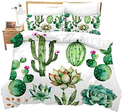 Fundas Nordicas Cama 90 Cactus Verde Juego de Funda de Edredón de fácil Cuidado Ropa de Cama...