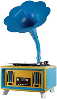 Antique Phonograph, Bluetooth Solid Wood Audio Gramophone With Brass Horn Reproduction RCA Victor Record Player (Color : C)