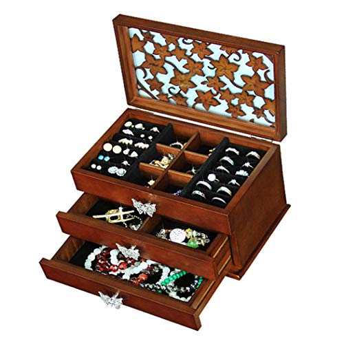 GWFVA Beautifully Hand Carved Jewellery Chest, European Vintage High Capacity Wooden Jewelry Box, Built in Flannelette Protects Jewelry, for Girlfriend Women 24.5 15 15.5CM