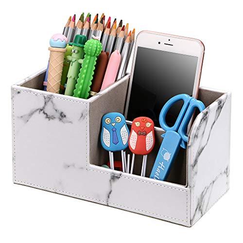 BSTKEY pu cuero 3 compartimentos organizador de escritorio multifuncional, tarjeta de visita, controlador de teléfono móvil, caja de almacenamiento, soporte, organizador de cosméticos, Mármol blanco