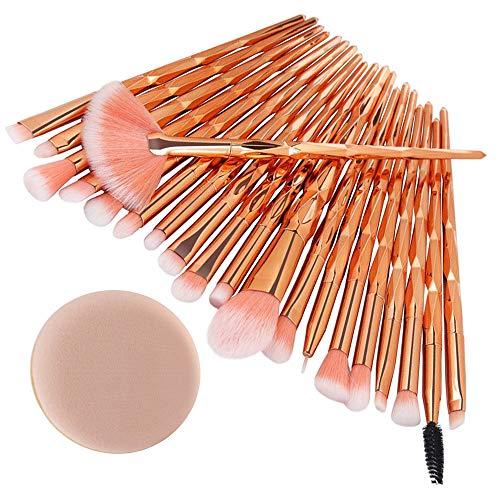 WINJIN Professional Pinceaux de Maquillage Brush Set Maquillage Brush Kit de Brosse de Cosmétique Pinceaux pour le visage Pinceaux pour les yeux 22Pcs Pinceaux Diamant + 1 Houppettes à Poudre